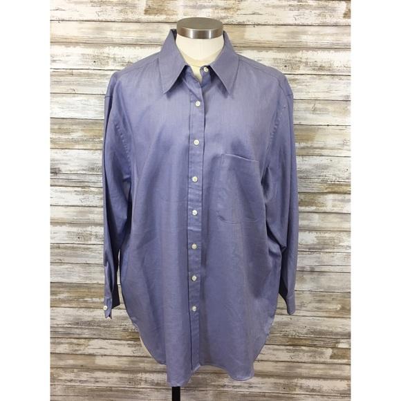 96000933 Jones New York Tops | Lilac 100 Linen Button Down Blouse 3x | Poshmark
